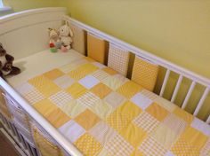 Handmade baby patchwork quilt and matching bar bumpers. Made with love by www.tillierose.co.uk and a great colour for unisex nurseries x