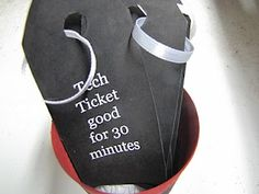 technology tickets... I think I would use lolly sticks. But I love the idea... thirty minutes a day? or maybe one movie a day? If they don't use their sticks by the end of the week, they can cash them in on Sunday for a treat.