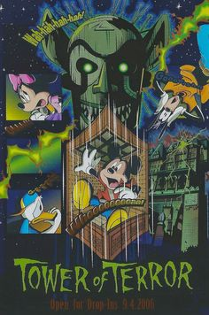 Tower of Terror Open for Drop-Ins Tokyo DisneySea This postcard features Goofy, Minnie Mouse, Donald Duck and Mickey Mouse. Vintage Disney Posters, Retro Disney, Vintage Cartoons, Vintage Comics, Disney Love, Disney Art, Disney Mickey, Walt Disney, Parc Disneyland