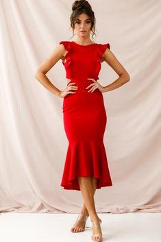 Jackie Wide Ruffle Hem Pinafore Midi Dress Red – Red Dresses – Ideas of Red Dresses Elegant Dresses For Women, Sexy Dresses, Beautiful Dresses, Casual Dresses, Fashion Dresses, Summer Dresses, Formal Dresses, Wedding Dresses, Party Dresses
