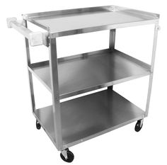 "Vollrath 97121 Stainless Steel 3 Shelf Utility Cart - 31"" X 18"" X 32"""
