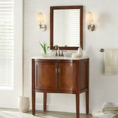 Florence 30 in. Vanity in Cognac with Stone Effects Vanity Top in Dune and Mirror-FL30P3COM-CG at The Home Depot $239