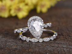 1.5 Carat Pear Shaped Moissanite Wedding Ring Sets Diamond Art Deco Matching Band 14k White Gold Halo Milgrain