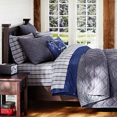 Finley Solid Quilt + Sham, Grey….perfect color combo for his room!