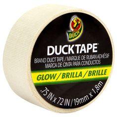 Glow in the Dark Duck Tape Mini Roll http://duckbrand.com/products/duck-tape/glow-in-the-dark/mini-rolls/glow-in-the-dark-75-in-x-72-in?utm_campaign=color-duck-tape-general&utm_medium=social&utm_source=pinterest.com&utm_content=glow-in-the-dark-duct-tape