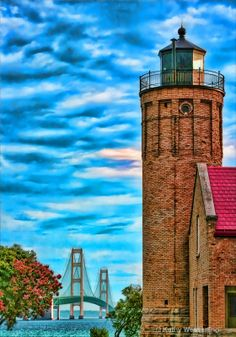 ~~Watching Over Mighty Mac ~ Mackinaw City, Michigan by Kathy Wesserling~~