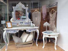 Painted Dressing Table Salon Window Display, Window Displays, Dressing Table, Upholstered Chairs, Painted Furniture, Vanity, Windows, Colours, Mirror