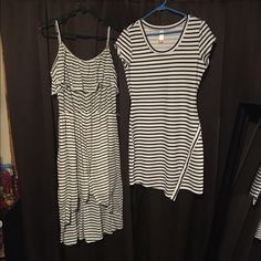 Dresses Both white and black striped the short one is a med and the longer one is an XLarge No Boundaries Dresses High Low