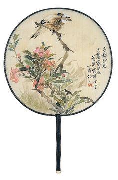 A rigid fan painted by   Ren Bonian (任伯年)