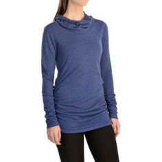 lucy Raise the Bar Shirt - Long Sleeve (For Women) in Sodalite Blue Heather - Closeouts Spa Day, Long Sleeve Shirts, Turtle Neck, Sweatshirts, Celebrities, Sweaters, Bar, Women, Style