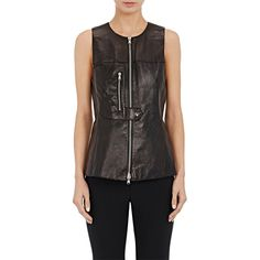 3.1 Phillip Lim Women's Leather Zip-Front Vest (42.090 RUB) ❤ liked on Polyvore featuring outerwear, vests, black, zip front vest, 3.1 phillip lim, vest waistcoat, tie belt and leather waistcoat