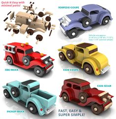 Handmade Wooden Toy Cars and Trucks Plans for Quick N Easy Five Car Fleet, Torpedo Coupe, Fire Truck, Club Coupe, Club Sedan, Pickup Truck #handmade #handcrafted #woodentoy #toys #coupe #firetruck #truck #pickup #sedan