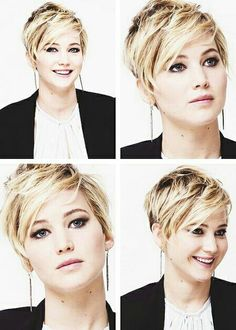 Oh, I like the piecy look here! Jennifer Lawrence hair style.