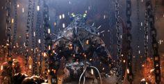 Dark sci-fi warrior chains sparks fire monsters creature robot futuristic wallpaper | 2500x1286 | 41866 | WallpaperUP