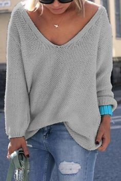 Simple V Neck Long Sleeves Pure Color Loose-Fitting Women's SweaterSweaters & Cardigans | RoseGal.com