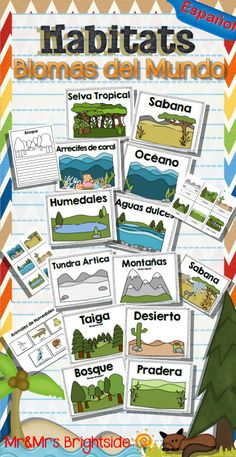 Habitats in spanish - Habitats : Biomas del mundo. An 80 page pack of 12 major habitats or biomes in spanish. For science bilingual and dual language classrooms.