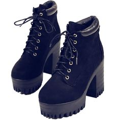 Black Suedette Lace Up Platform Ankle Boots ($57) ❤ liked on Polyvore featuring shoes, boots, ankle booties, black lace up booties, black lace-up boots, lace up booties, suede booties и short black boots