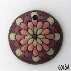 "Handmade Ceramic Pendant--""Peacock"" pattern - pink & wine"
