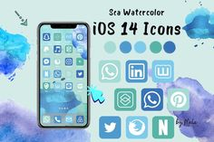1500 iOS 14 Iphone App Icons Sea Watercolor Theme, Blue Green Neutral Icons Pack Phone Home Screen Widget Iphone Social Media Free wallpaper