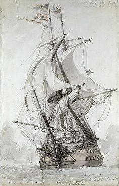 "Philip Jacques de Loutherbourg: ""La Montagne"", French line of battle ship…"