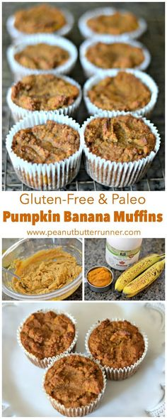 These gluten-free and paleo pumpkin banana muffins are a perfect addition to your breakfast spread or a great option for an afternoon snack. And with just under 150 calories per muffin and no processed sugar you can feel good about enjoying a freshly bak Paleo Dessert, Dessert Sans Gluten, Paleo Sweets, Gluten Free Desserts, Muffins Blueberry, Paleo Banana Muffins, Mini Muffins, Banana Nut, Gluten Free Baking