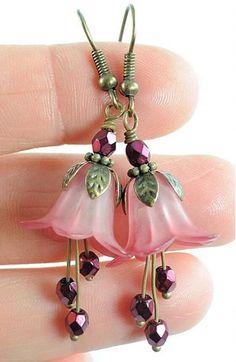pink trumpet flower earrings