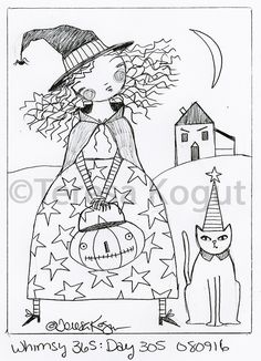 whimsy 365 day 305 080916 Halloween Drawings, Halloween Quilts, Halloween Patterns, Halloween Art, Rug Patterns, Embroidery Patterns, Hand Embroidery, Primitive Embroidery, Primitive Stitchery