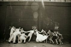 Funny bride and groom with bridesmaids and groomsmen pics. Great idea and just because of one thing I know this picture has to happen.