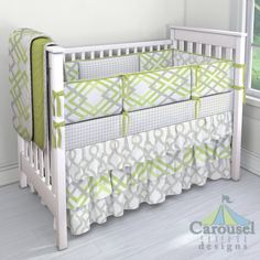 Crib bedding in French Gray Houndstooth, Kiwi and Gray Winston, French Gray Lyon, Solid Light Lime. Created using the Nursery Designer® by Carousel Designs where you mix and match from hundreds of fabrics to create your own unique baby bedding. #carouseldesigns