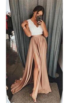 Elegant Long V-neck Front Split Simple Cheap Prom Dresses Z0957