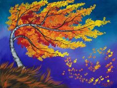 16 EASY Acrylic paintings you can do with cotton Swabs. Q-tips How to paint a birch tree with fall blowing leaves Landscape Easy Beginner Acrylic painting By The Art Sherpa Fall Canvas Painting, Q Tip Painting, Autumn Painting, Beginner Painting, Autumn Art, Painting Techniques, Canvas Art, Tree Painting Easy, The Art Sherpa