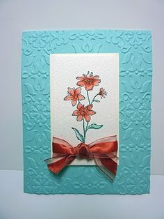 Watercolor - great color combo. I inked the ribbon to match the flower