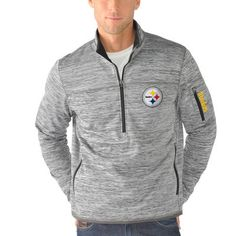 Pittsburgh Steelers G-III Sports by Carl Banks Fast Pace Half-Zip Jacket - Heathered Gray