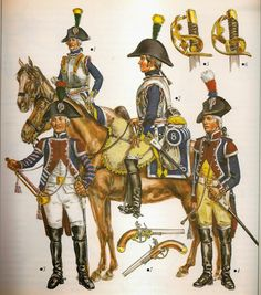 French; Heavy Cavalry. L to R 14th Regt, Trumpeter, 1791; 8th Regt, Officer 1799; 8th Regt, Trooper & 13th Regt, Trumpeter,1799. by L 7 F Funken. NB in 1791 the trumpeters still wore the royal livery, by 1799 this had been removed from uniforms.