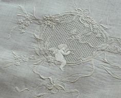Em's Heart Antique Linens -Antique Linen Figural Embroidered Baby Sham