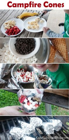 Camp Fire Food - Fruit  Smore Cones - Kids Activities Blog