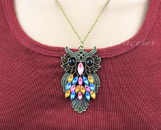 Classical owl necklace jewelry variety of color by lovelybracelet, $3.99
