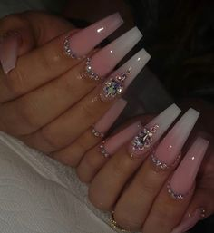Acrylic Nails Coffin Pink, Long Square Acrylic Nails, Summer Acrylic Nails, Pastel Nails, Coffin Nails, Rhinestone Nails, Bling Nails, Swag Nails, Grunge Nails