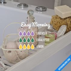 Easy Morning - Essential Oil Diffuser Blend by lenora Essential Oil Diffuser Blends, Doterra Essential Oils, Yl Oils, Diffuser Recipes, Aromatherapy Oils, Young Living, Remedies, Cleaning, Healthy