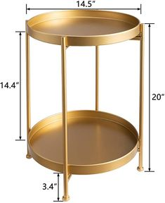 """Amazon.com: HollyHOME 2-Tier Round Metal End Side Table, Accent Anti-Rust Waterproof Simplistic Sofa Table, Modern Tray Outdoor&Indoor Folding Coffee Table, (D) 15.75"""" x(H) 20.47"""", Golden: Kitchen & Dining"""