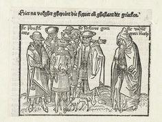 """Erhard Reuwich   De Grieken, Erhard Reuwich, 1486 - 1488   Illustratie voor het boek van Bernhard von Breidenbach, Reise ins Heilige Land. De prent is één van de afbeeldingen van de """"nationes christianorum oriantalium"""", in het hoofdstuk over geloofsgemeenschappen in de wereld. Zeven griekse mannen en een geestelijke met rozenkrans staan bij elkaar, op de grond snuffelt een hondje.  Boven de prent tekst in het Nederlands, naast de figuren tekst in het Latijn."""