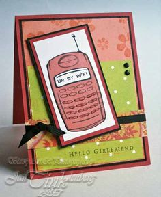 Cute Cell Phone Text Greeting Card Ur My BFF Hello by JanTink, $5.95