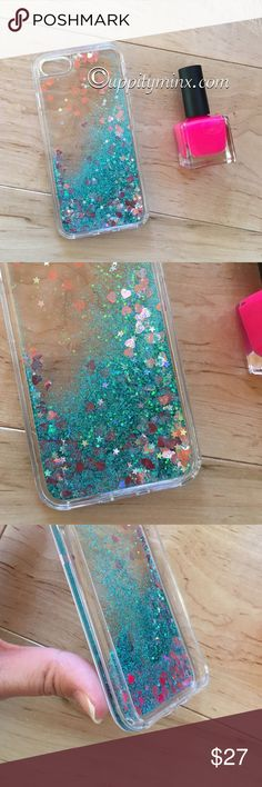 iPhone 7 Teal + Pink Liquid Glitter Case Brand new. Liquid glitter with pink hearts. So cute! iPhone 7. No trades. Bundle to save 10%! Uppity Minx  Accessories Phone Cases