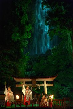 """Gagaku theater at Nachi Shrine, Wakayama, Japan. I just went there! Legend says that the name is from Sanskrit: """"Nadi"""" --a stream. 「那智」は梵語の「ナディ」からのと。那智の滝は神様のご神体なんです。"""