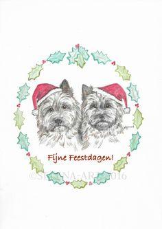 Kerstkaart met twee Cairn Terriers www.selena-art.nl