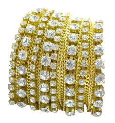 Pulseira Juliana Manzini, em bijouteria, dourada com strass