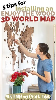 AD: Add a gorgeous global flair to your home with a 3D Wooden World Map from Enjoy the Wood. Includes our best tips for installing the map in your home! #enjoythewood #etw