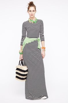 Crew Spring 2016 Ready-to-Wear Fashion Show .stripey T as a maxi, what's not to like? Fashion Week, Look Fashion, Fashion Show, Long Sleeve Striped Dress, Maxi Dress With Sleeves, Sleeve Dresses, Cute Summer Outfits, Spring Outfits, Quoi Porter