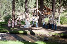 The Wedding Party at Outside Ceremony