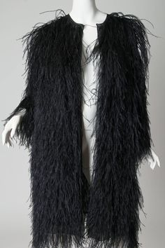 Midnight Blue Ostrich Feather Chiffon Jacket   From a collection of rare vintage coats and outerwear at https://www.1stdibs.com/fashion/clothing/coats-outerwear/